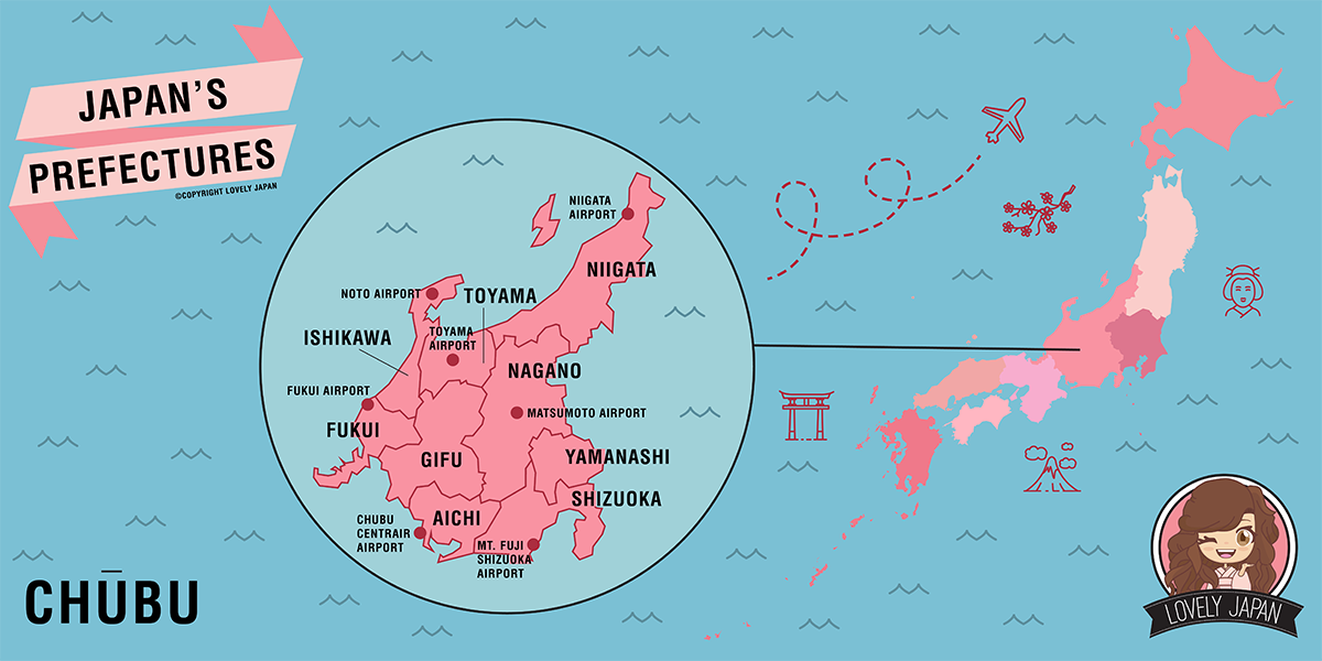 Japan Prefectures Map Chubu