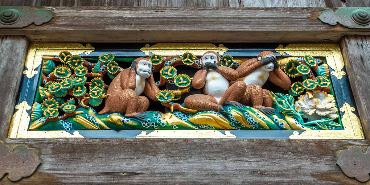 Nikko Toshogu Shrine: See no, speak no, see no evil monkeys